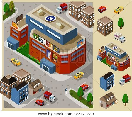 Set of very detailed isometric vector