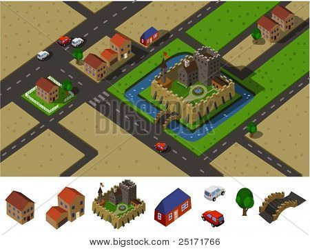 Castle countryside. Set of very detailed isometric vector