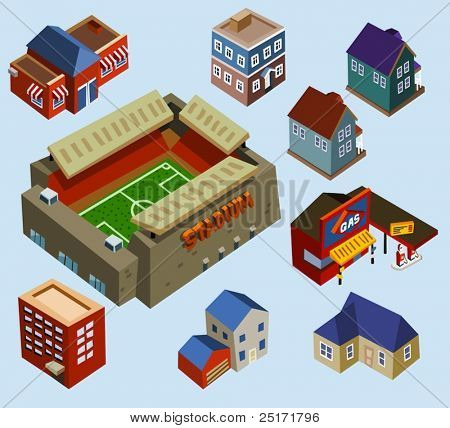 Buildings and Soccer Stadium in a city. Compose your own city
