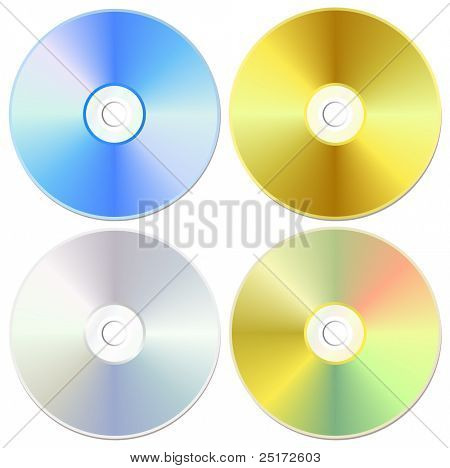 Blue, golden and silver cd or dvd set, isolated on white, vector illustration