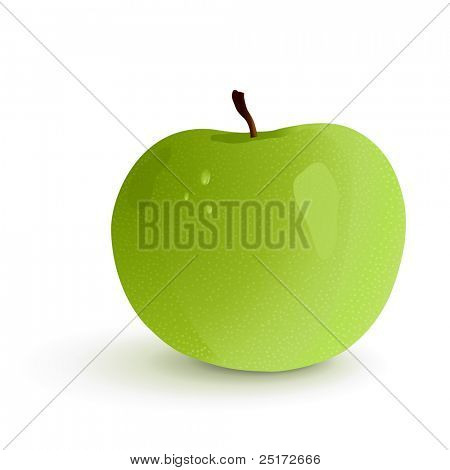 Shining granny smith apple