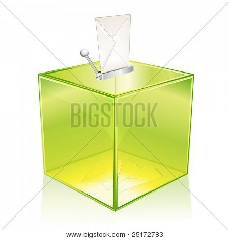 Transparent green ballot box, for your vote
