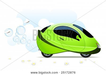 Vector illustration of hydrogen car concept on white