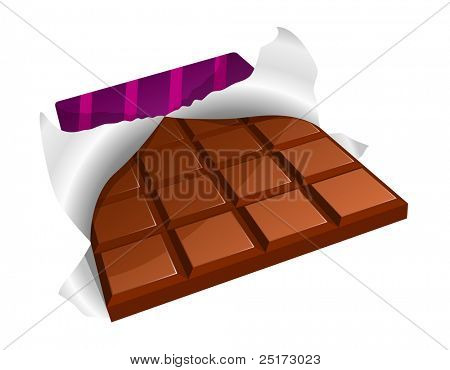 Chocolate bar with torn packing