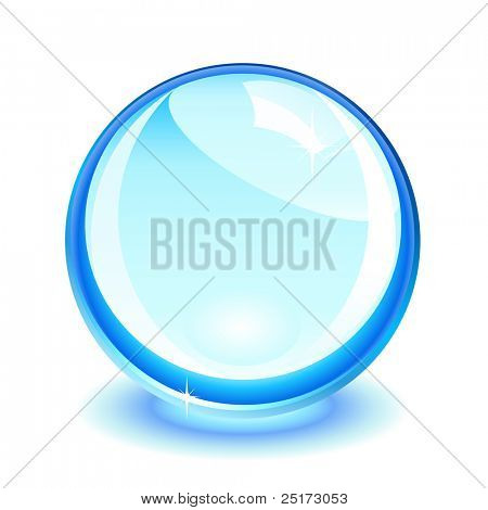 Blue crystal ball over white