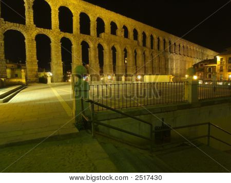 Aquaduct And Stairs At Night