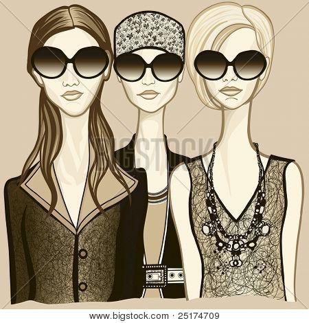 Vector illustration of three women with sunglasses