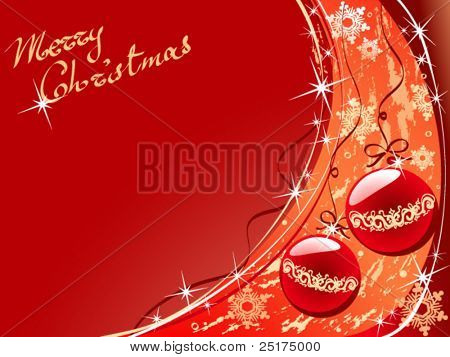 vector christmas abstract background with balls and stars