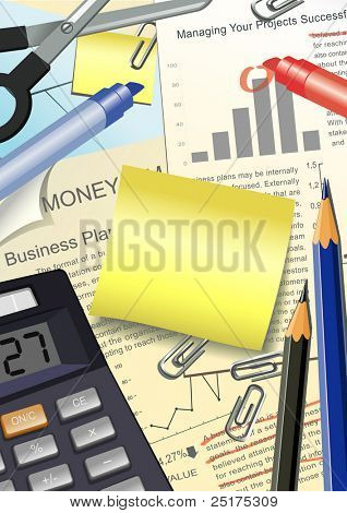 illustration of business accessories with place for your text
