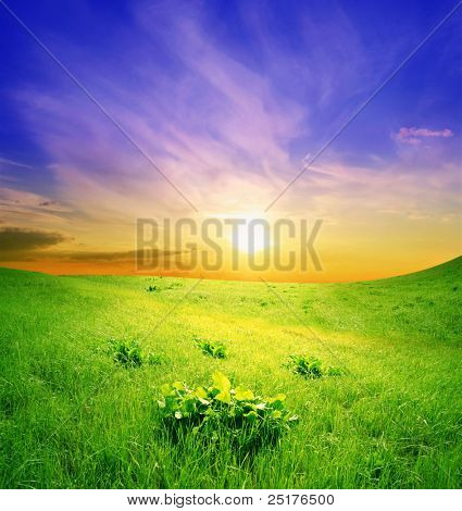 green hills on a background a sunset