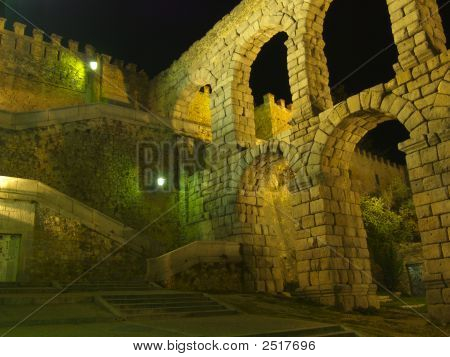 Stairs And Wall Section Of Aquaduct In Segovia Spain