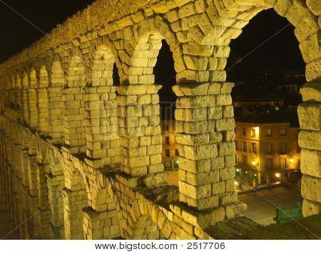 Top Arch Of Aquaduct At Night