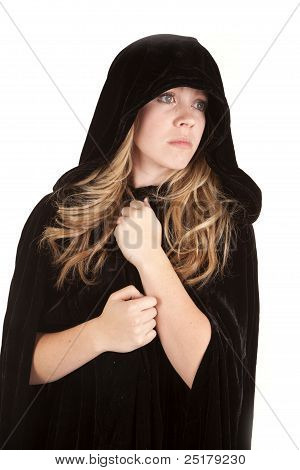 Girl Cloak Looking To Side