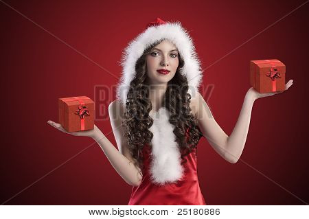 Sweet Santa Brunette Spreading Her Arms