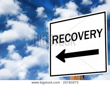 Message traffic sign about economic recovery and health.