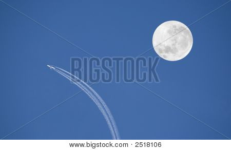 Airplane And Moon