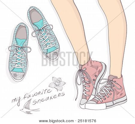 Shoes With Floral Pattern. Background With Fashionable Sneakers. Cute Birthday Card Or Invitation.
