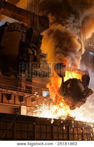 Smelting Metal In A Metallurgical Plant. Liquid Iron From The Ladle