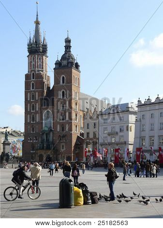 Market Place And St. Marys Church In Krakow