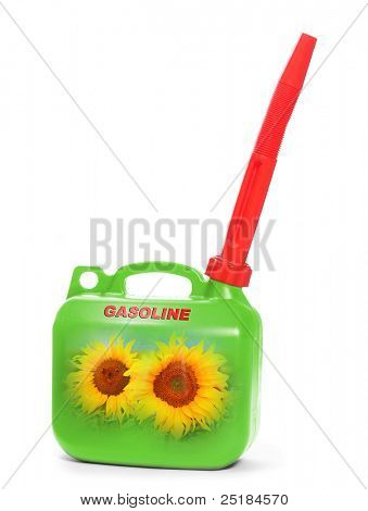 Green plastic gas can (fuel container) with sunflowers. Environmental concept. Natural gas metaphor.