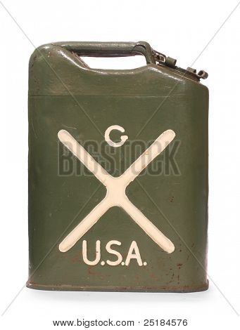 Vintage US Army gas can (fuel container) on a white background.
