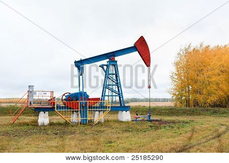 One pump jacks on a oil field