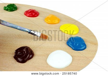 Palet and colors on white background