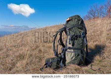 Bagpack On Meadow