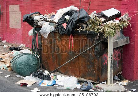 Trash Dumpster In Slums