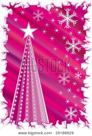 Purple Christmas Background with Christmas tree, snowflakes and ice border