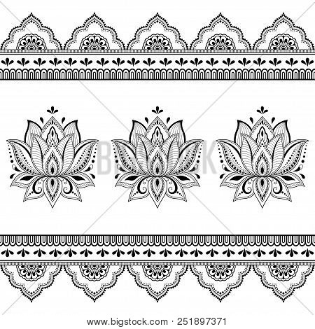 Set Of Mehndi Lotus Flower Pattern And Seamless Border For Henna