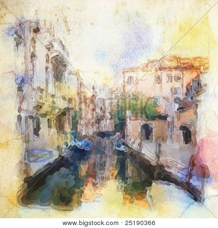views od Venice made in artistic watercolor style