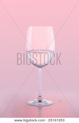 White Wine Glass on Pink Background