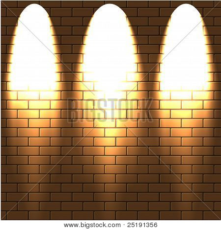 Lighted A Brick Wall. Vector Illustration.best Choice