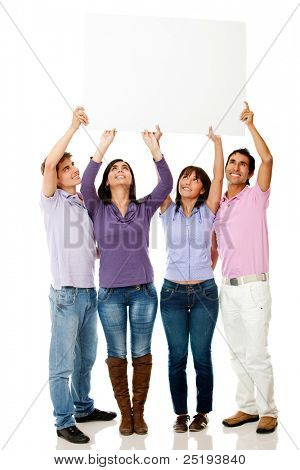 Group of people lifting a banner - isolated over a white background