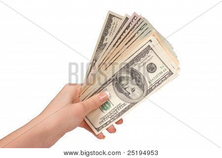 Female Hand With Dollars