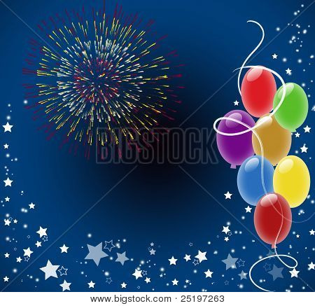 Background with firework and balloons
