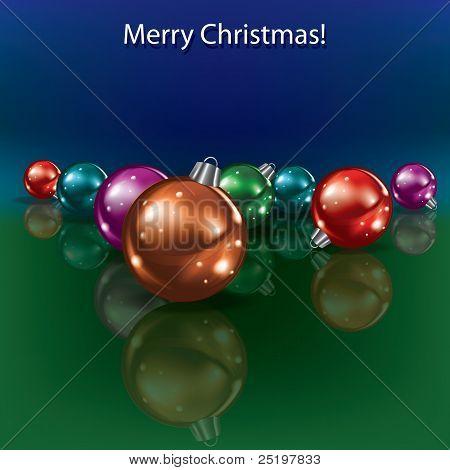 Decoraciones de Navidad sobre fondo azul