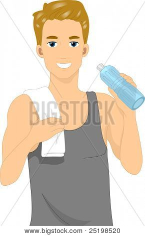 Illustration of a Man Drinking Bottled Water