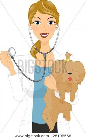 Illustration of a Veterinarian Examining a Dog