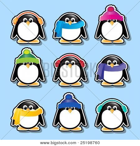 Winter cartoon penguin stickers. EPS10 vector format.