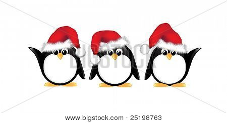 Winter cartoon penguins wearing Santa hats. Isolated on white. EPS10 vector format.