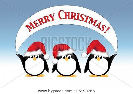 Winter cartoon penguins wearing Santa hats and holding a Merry Christmas banner. EPS10 vector format.
