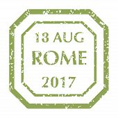 Colored Grungy Postal Stamp From Rome. Isolated Vector Illustration. poster