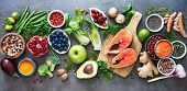 Healthy food selection: food sources of omega 3 and unsaturated fats, fruits, vegetables, seeds, sup poster