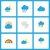 Climate Icons Flat Style Set With Outbreak, Frost, Cloudy And Other Bow Elements. Isolated  Illustra poster
