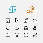 Economy Icons Set. Investment Target And Economy Icons With Investing Diversification, Stock News An poster