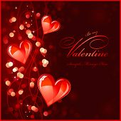 foto of valentines day card  - dark red valentines background or greeting card with glossy red hearts  - JPG