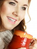 Woman Wearing Warm Clothing Grey Sweater Holding Nice Red Mug Of Warm Beverage Tea Or Coffee On Whit poster