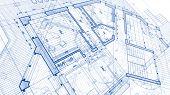 Architecture design: blueprint plan - illustration of a plan modern residential building / technolog poster